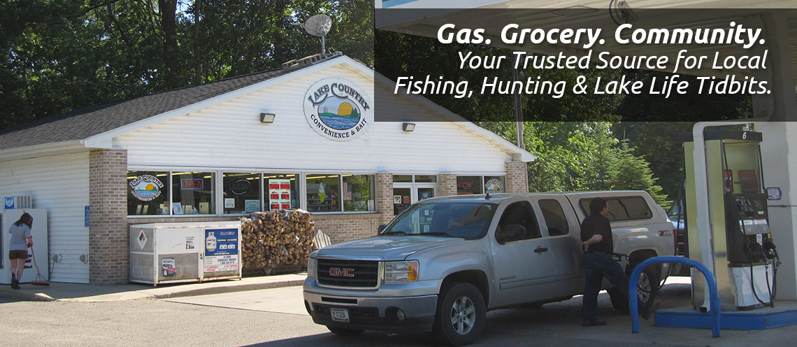 Truck filling its gas tank at Lake Country Convenience & Bait