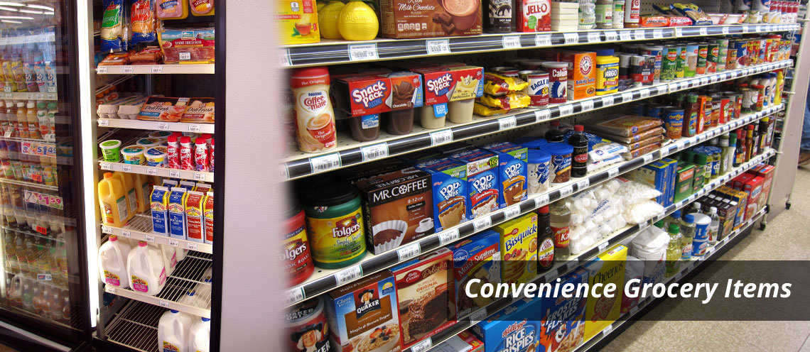 Aisles of Grocery Items & Coolers - Convenience Grocery Items