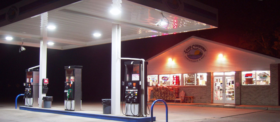 Fuel Pumps and Gas Station building of Lake Country Convenience & Bait